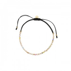 Stine A CONFETTI PEARL BRACELET WITH BEIGE AND PASTEL MIX WITH BLACK RIBBON